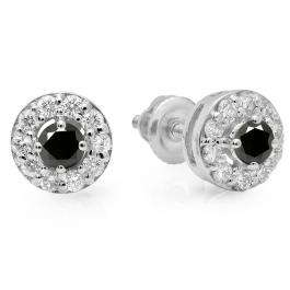 0.50 Carat (ctw) 14K White Gold Real Round Cut Black & White Diamond Ladies Cluster Stud Earrings 1/2 CT