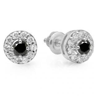 0.50 Carat (ctw) 18K White Gold Real Round Cut Black & White Diamond Ladies Cluster Stud Earrings 1/2 CT