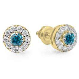0.50 Carat (ctw) 10K Yellow Gold Real Round Cut Blue & White Diamond Ladies Cluster Stud Earrings 1/2 CT