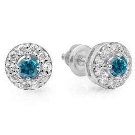 0.50 Carat (ctw) 18K White Gold Real Round Cut Blue & White Diamond Ladies Cluster Stud Earrings 1/2 CT