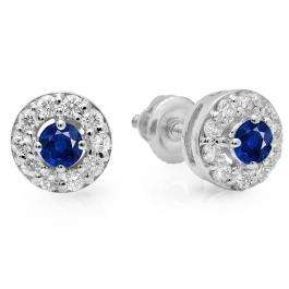 0.50 Carat (ctw) 10K White Gold Real Round Cut Blue Sapphire & White Diamond Ladies Cluster Stud Earrings 1/2 CT