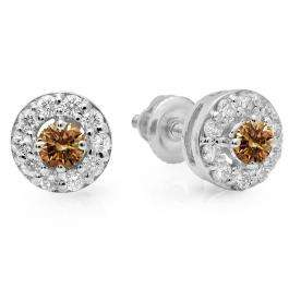 0.50 Carat (ctw) 18K White Gold Real Round Cut Champagne & White Diamond Ladies Cluster Stud Earrings 1/2 CT