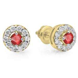 0.50 Carat (ctw) 10K Yellow Gold Real Round Cut Ruby & White Diamond Ladies Cluster Stud Earrings 1/2 CT