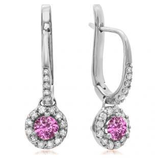 0.45 Carat (ctw) 10K White Gold Round Pink Sapphire & White Diamond Ladies Halo Style Dangling Drop Earrings 1/2 CT