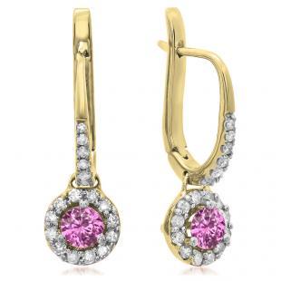 0.45 Carat (ctw) 18K Yellow Gold Round Pink Sapphire & White Diamond Ladies Halo Style Dangling Drop Earrings 1/2 CT