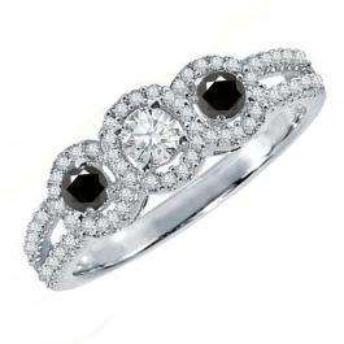 0.50 Carat (ctw) 14K White Gold Round Black & White Diamond Ladies 3 Stone Split Shank Engagement Bridal Ring 1/2 CT