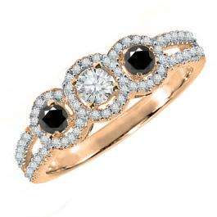0.50 Carat (ctw) 18K Rose Gold Round Black & White Diamond Ladies 3 Stone Split Shank Engagement Bridal Ring 1/2 CT