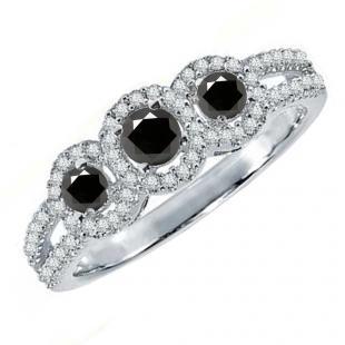 0.50 Carat (ctw) 10K White Gold Round Black & White Diamond Ladies 3 Stone Split Shank Engagement Bridal Ring 1/2 CT