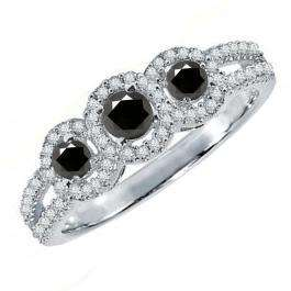 0.50 Carat (ctw) 14K White Gold Round Black & White Diamond Ladies 3 Stone Split Shank Engagement Bridal Ring 1/2 CT