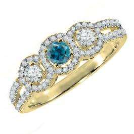 0.50 Carat (ctw) 14K Yellow Gold Round Blue & White Diamond Ladies 3 Stone Split Shank Engagement Bridal Ring 1/2 CT