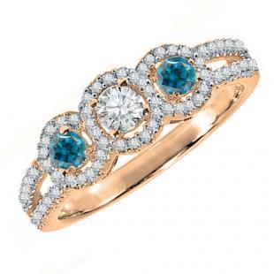 0.50 Carat (ctw) 10K Rose Gold Round Blue & White Diamond Ladies 3 Stone Split Shank Engagement Bridal Ring 1/2 CT