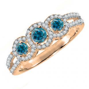 0.50 Carat (ctw) 18K Rose Gold Round Blue & White Diamond Ladies 3 Stone Split Shank Engagement Bridal Ring 1/2 CT