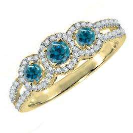 0.50 Carat (ctw) 18K Yellow Gold Round Blue & White Diamond Ladies 3 Stone Split Shank Engagement Bridal Ring 1/2 CT