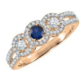 0.50 Carat (ctw) 14K Rose Gold Round Blue Sapphire & White Diamond Ladies 3 Stone Split Shank Engagement Bridal Ring 1/2 CT