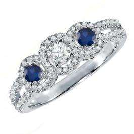 0.50 Carat (ctw) 10K White Gold Round Blue Sapphire & White Diamond Ladies 3 Stone Split Shank Engagement Bridal Ring 1/2 CT