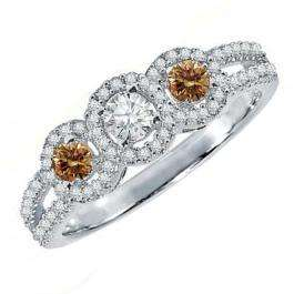 0.50 Carat (ctw) 10K White Gold Round Champagne & White Diamond Ladies 3 Stone Split Shank Engagement Bridal Ring 1/2 CT