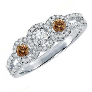 0.50 Carat (ctw) 14K White Gold Round Champagne & White Diamond Ladies 3 Stone Split Shank Engagement Bridal Ring 1/2 CT