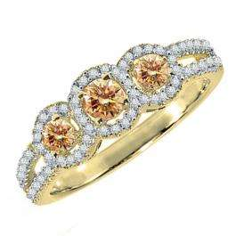0.50 Carat (ctw) 10K Yellow Gold Round Champagne & White Diamond Ladies 3 Stone Split Shank Engagement Bridal Ring 1/2 CT