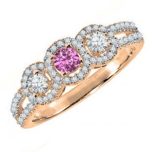 0.50 Carat (ctw) 10K Rose Gold Round Pink Sapphire & White Diamond Ladies 3 Stone Split Shank Engagement Bridal Ring 1/2 CT