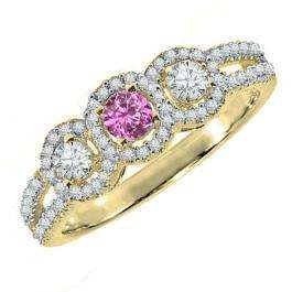 0.50 Carat (ctw) 18K Yellow Gold Round Pink Sapphire & White Diamond Ladies 3 Stone Split Shank Engagement Bridal Ring 1/2 CT