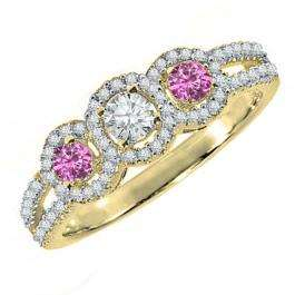 0.50 Carat (ctw) 10K Yellow Gold Round Pink Sapphire & White Diamond Ladies 3 Stone Split Shank Engagement Bridal Ring 1/2 CT