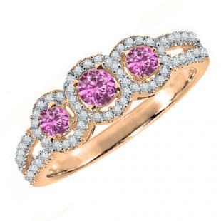0.50 Carat (ctw) 18K Rose Gold Round Pink Sapphire & White Diamond Ladies 3 Stone Split Shank Engagement Bridal Ring 1/2 CT