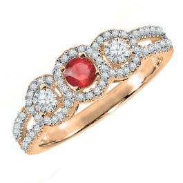 0.50 Carat (ctw) 14K Rose Gold Round Red Ruby & White Diamond Ladies 3 Stone Split Shank Engagement Bridal Ring 1/2 CT
