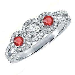 0.50 Carat (ctw) 10K White Gold Round Red Ruby & White Diamond Ladies 3 Stone Split Shank Engagement Bridal Ring 1/2 CT