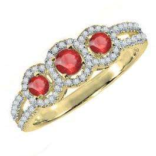 0.50 Carat (ctw) 10K Yellow Gold Round Red Ruby & White Diamond Ladies 3 Stone Split Shank Engagement Bridal Ring 1/2 CT