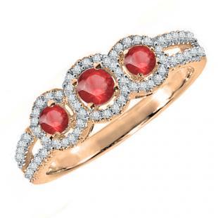 0.50 Carat (ctw) 14K Rose Gold Round Red Ruby & White Diamond Ladies 3 Stone Split Shank Engagement Bridal Ring 1/2 CT