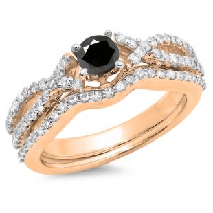 1.00 Carat (ctw) 18K Rose Gold Round Cut Black & White Diamond Ladies Bridal Swirl Split Shank Engagement Ring With Matching Band Set 1 CT