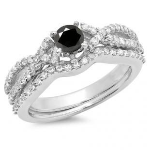 1.00 Carat (ctw) 18K White Gold Round Cut Black & White Diamond Ladies Bridal Swirl Split Shank Engagement Ring With Matching Band Set 1 CT