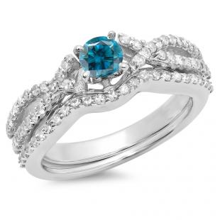 1.00 Carat (ctw) 10K White Gold Round Cut Blue & White Diamond Ladies Bridal Swirl Split Shank Engagement Ring With Matching Band Set 1 CT