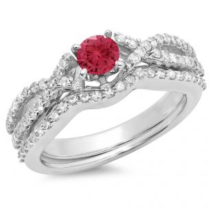 1.00 Carat (ctw) 10K White Gold Round Cut Red Ruby & White Diamond Ladies Bridal Swirl Split Shank Engagement Ring With Matching Band Set 1 CT