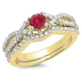 1.00 Carat (ctw) 10K Yellow Gold Round Cut Red Ruby & White Diamond Ladies Bridal Swirl Split Shank Engagement Ring With Matching Band Set 1 CT