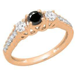 0.75 Carat (ctw) 10K Rose Gold Round Cut Black & White Diamond Ladies Bridal 3 Stone Engagement Ring 3/4 CT