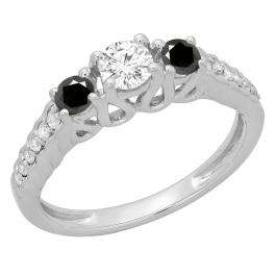 0.75 Carat (ctw) 10K White Gold Round Cut Black & White Diamond Ladies Bridal 3 Stone Engagement Ring 3/4 CT