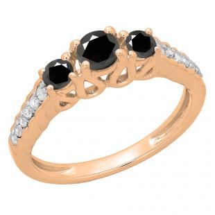0.75 Carat (ctw) 18K Rose Gold Round Cut Black & White Diamond Ladies Bridal 3 Stone Engagement Ring 3/4 CT