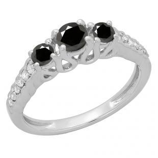 0.75 Carat (ctw) 18K White Gold Round Cut Black & White Diamond Ladies Bridal 3 Stone Engagement Ring 3/4 CT
