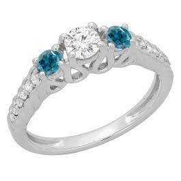 0.75 Carat (ctw) 10K White Gold Round Cut Blue & White Diamond Ladies Bridal 3 Stone Engagement Ring 3/4 CT