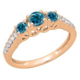 0.75 Carat (ctw) 14K Rose Gold Round Cut Blue & White Diamond Ladies Bridal 3 Stone Engagement Ring 3/4 CT