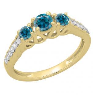 0.75 Carat (ctw) 14K Yellow Gold Round Cut Blue & White Diamond Ladies Bridal 3 Stone Engagement Ring 3/4 CT