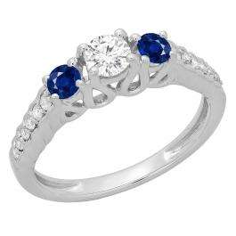 0.75 Carat (ctw) 10K White Gold Round Cut Blue Sapphire & White Diamond Ladies Bridal 3 Stone Engagement Ring 3/4 CT
