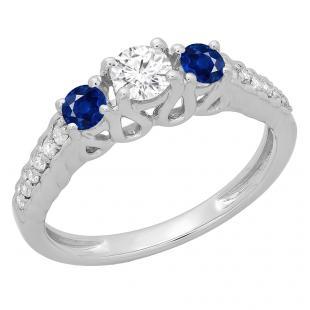 0.75 Carat (ctw) 14K White Gold Round Cut Blue Sapphire & White Diamond Ladies Bridal 3 Stone Engagement Ring 3/4 CT