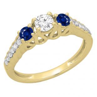 0.75 Carat (ctw) 18K Yellow Gold Round Cut Blue Sapphire & White Diamond Ladies Bridal 3 Stone Engagement Ring 3/4 CT