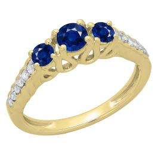 0.75 Carat (ctw) 14K Yellow Gold Round Cut Blue Sapphire & White Diamond Ladies Bridal 3 Stone Engagement Ring 3/4 CT