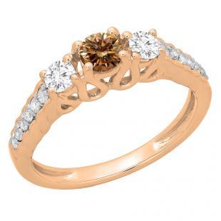 0.75 Carat (ctw) 10K Rose Gold Round Cut Champagne & White Diamond Ladies Bridal 3 Stone Engagement Ring 3/4 CT