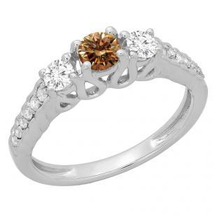 0.75 Carat (ctw) 14K White Gold Round Cut Champagne & White Diamond Ladies Bridal 3 Stone Engagement Ring 3/4 CT
