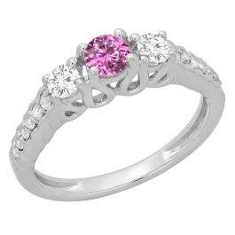 0.75 Carat (ctw) 14K White Gold Round Cut Pink Sapphire & White Diamond Ladies Bridal 3 Stone Engagement Ring 3/4 CT
