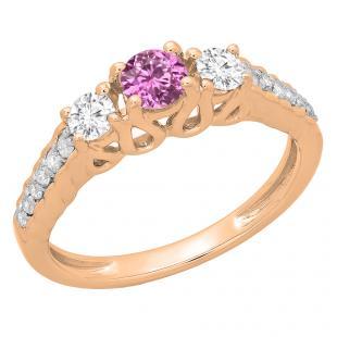 0.75 Carat (ctw) 18K Rose Gold Round Cut Pink Sapphire & White Diamond Ladies Bridal 3 Stone Engagement Ring 3/4 CT